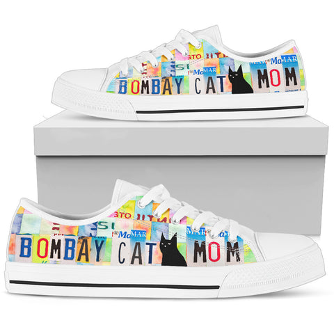 Bombay Cat Mom Print Low Top Canvas Shoes for Women