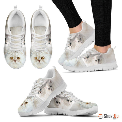 White Persian Cat Print Running Shoe For Women