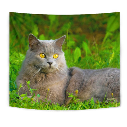 Chartreux Cat Nature Print Tapestry