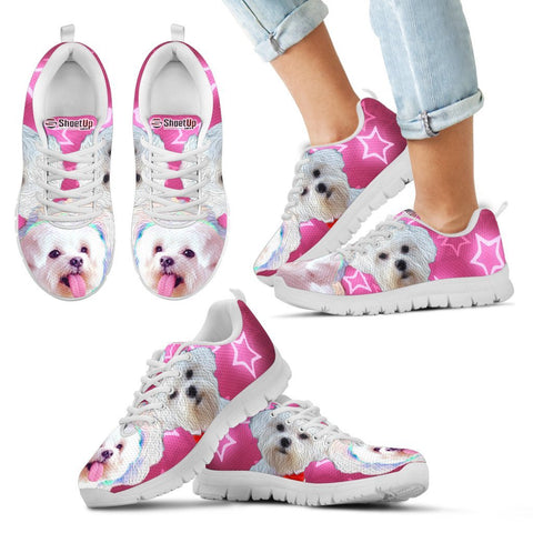 Cute Maltese Print Running Shoes For Kids