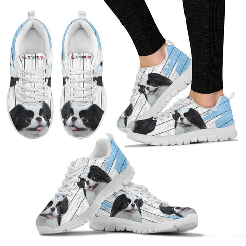 Japanese Chin Blue White Print Sneakers For Women