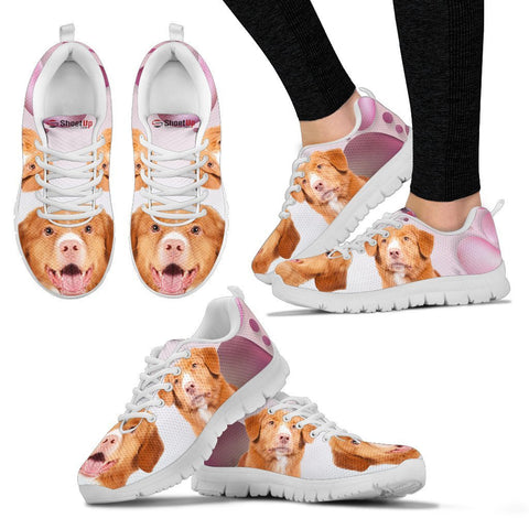 Nova Scotia Duck Tolling Retriever Pink White Print Running Shoes For Women