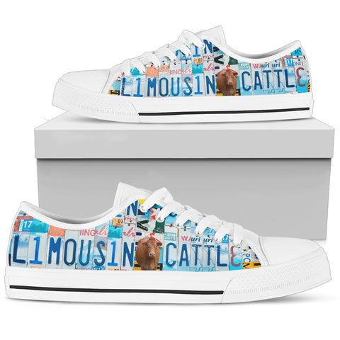 Limousin Cattle (Cow) Print Low Top Canvas Shoes for Women