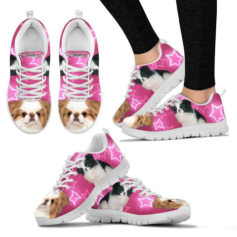 Japanese Chin On Pink Print Running Shoes For Women