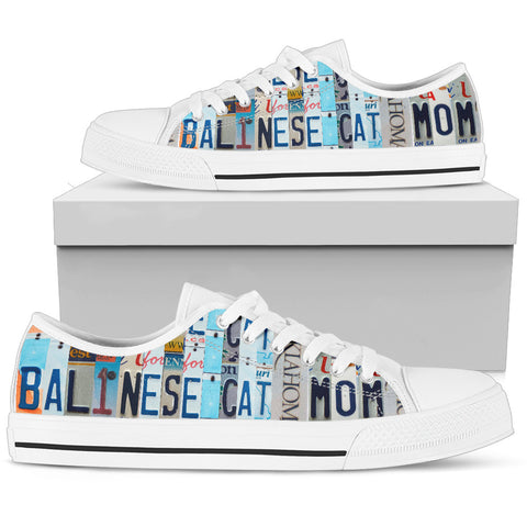 Balinese Cat Print Low Top Canvas Shoes for Women