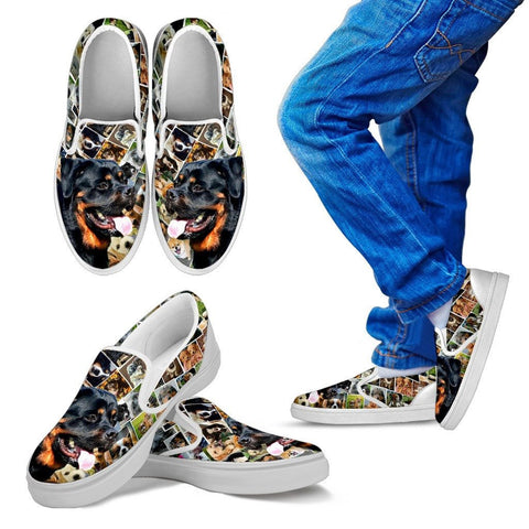 Amazing Rottweiler Dog Print Slip Ons For KidsExpress Shipping
