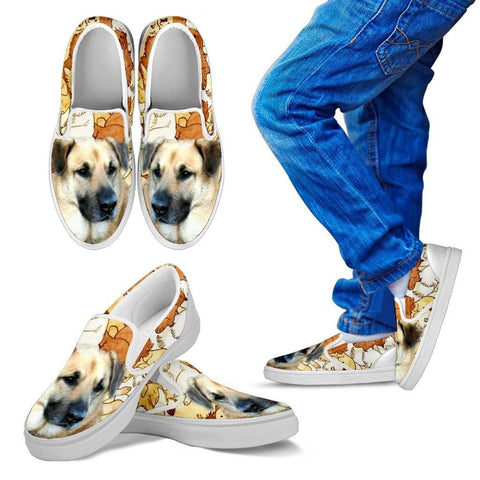 Chinook Dog Print Slip Ons For Kids Express Shipping