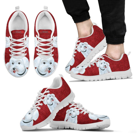 Cute Maltese Red Print Running Shoes For Men