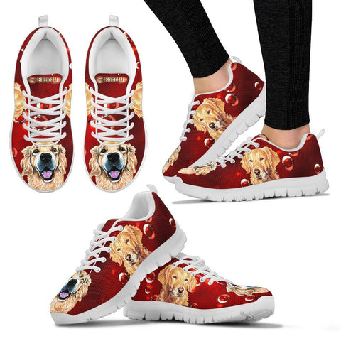 Golden Retriever On RedWomen's Running Shoes