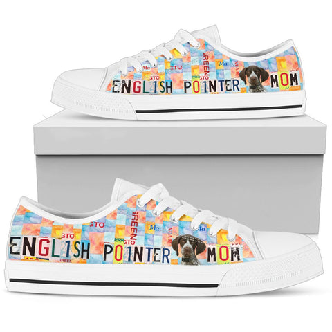 English Pointer Mom Print Low Top Canvas Shoes For Women