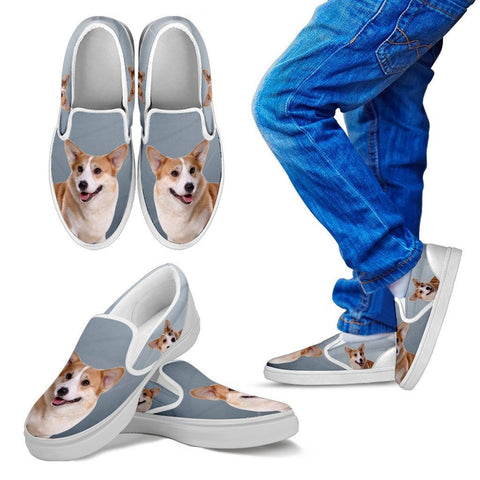 Pembroke Welsh Corgi Print Slip Ons For KidsExpress Shipping