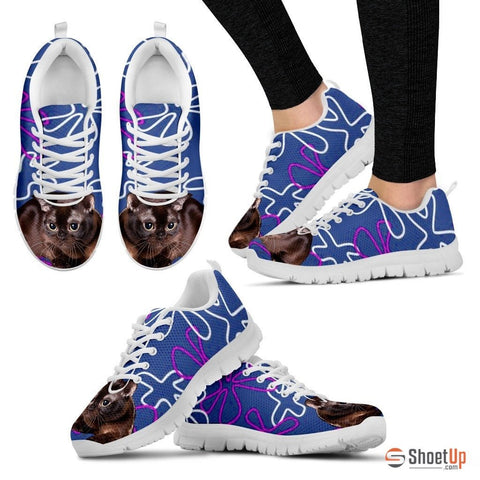 Burmese Cat Print (White/Black) Running Shoes For Women
