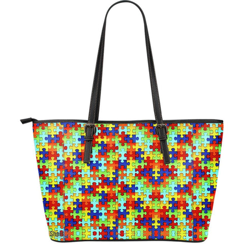 Autism Symbol Large Leather Tote Bag