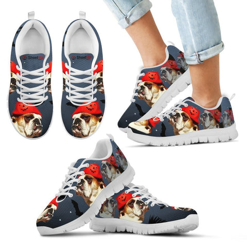Bulldog With Halloween Print Running Shoes For Kids