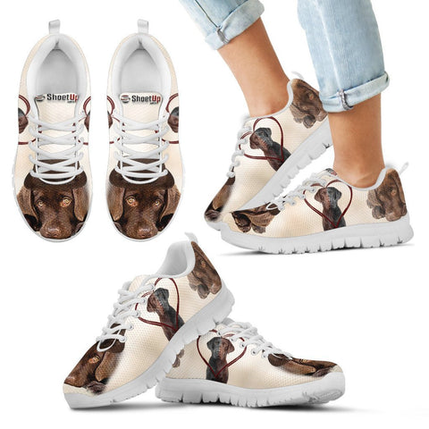 Cute Chocolate Labrador Retriever Print Running Shoes For Kids