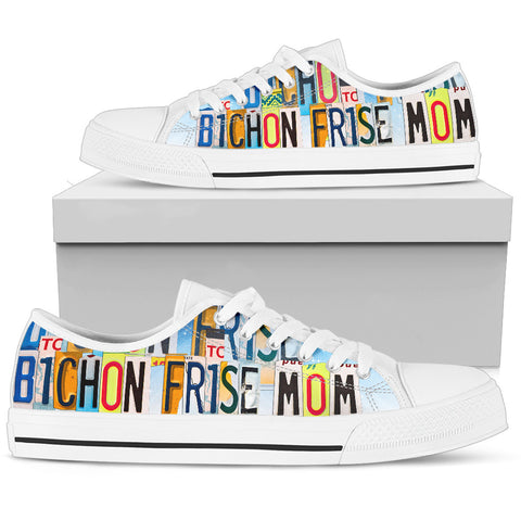 Cute Bichon Frise Mom Low Top Canvas Shoes For Women