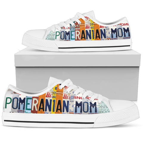 Pomeranian Mom Print Low Top Canvas Shoes For Women