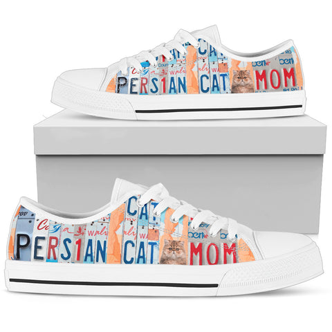 Persian Cat Print Low Top Canvas Shoes for Women