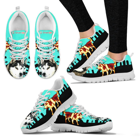 Siberian Husky HalloweenRunning Shoes For Women And Kids