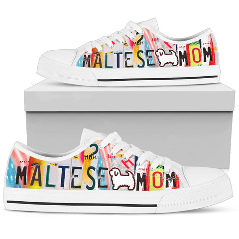 Amazing Maltese Mom Print Low Top Canvas Shoes For Women