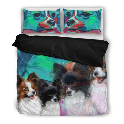Lovely Papillon Dog Print Bedding Set
