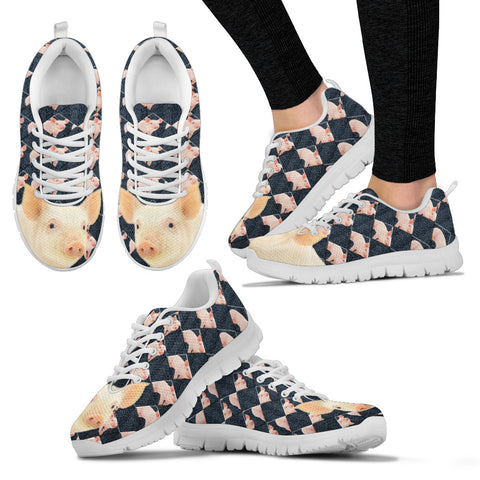 Danish Landrace Pig Print Christmas Running Shoes For Women