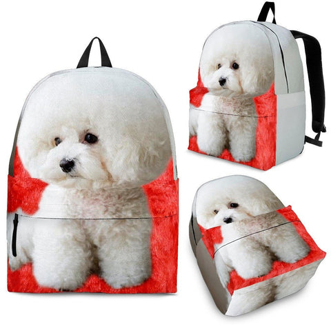 Bichon Frise On Red Fur Print Backpack Express Shipping