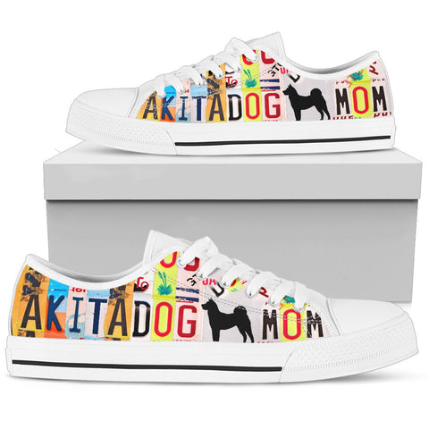 Akita Dog Mom Print Low Top Canvas Shoes for Women