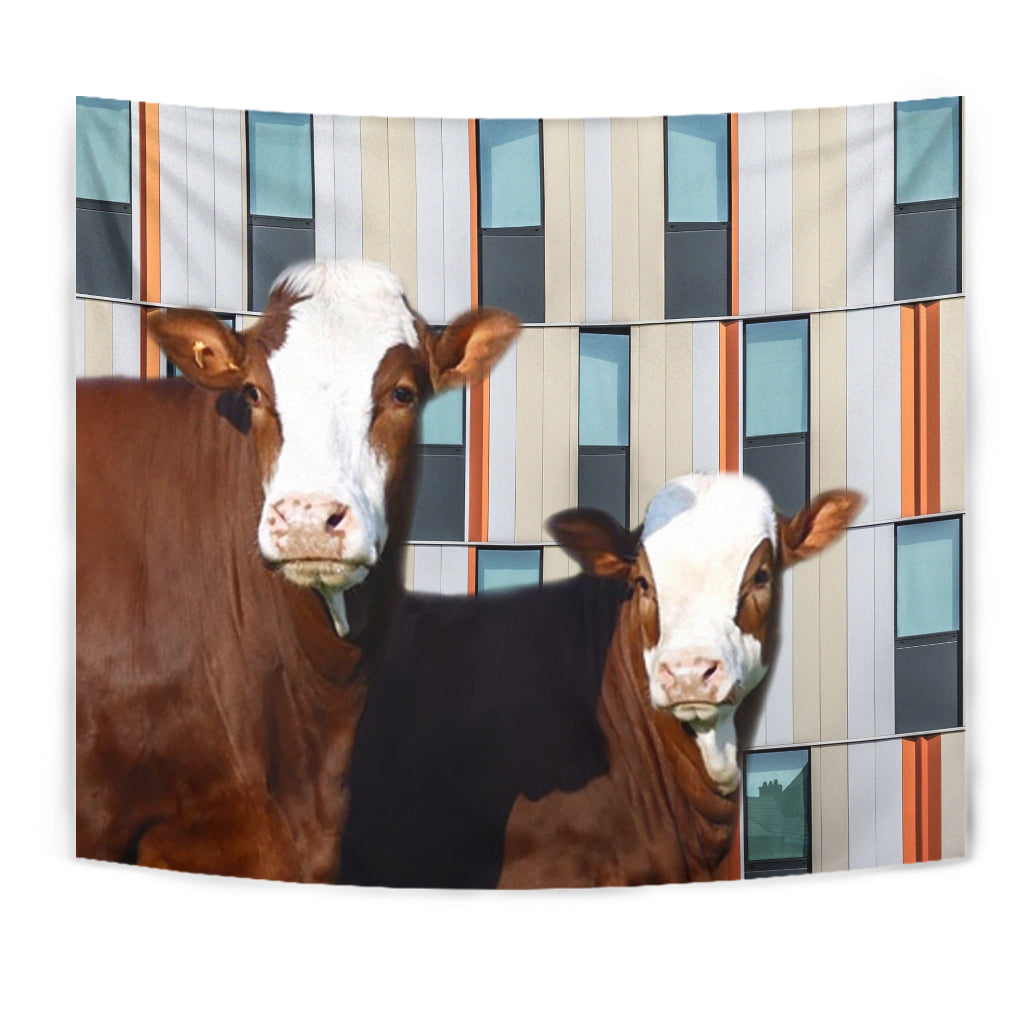 Simmental Cattle (Cow) Print Tapestry