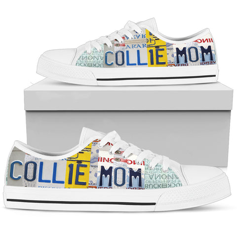 Amazing Collie Mom Print Low Top Canvas Shoes For Women