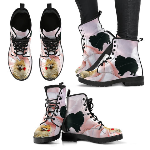 Valentine's Day Special Pomeranian Print Boots For Women