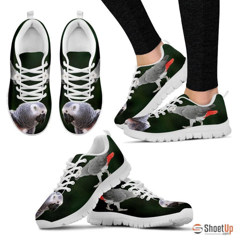 'African Grey Parrot Walking' Print Running Shoes For Women