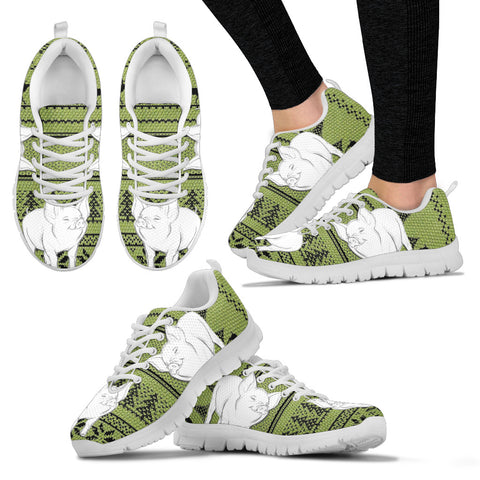 Middle White Pig Print Christmas Running Shoes For Women