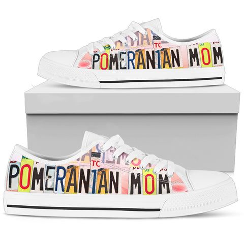 Lovely Pomeranian Mom Print Low Top Canvas Shoes For Women