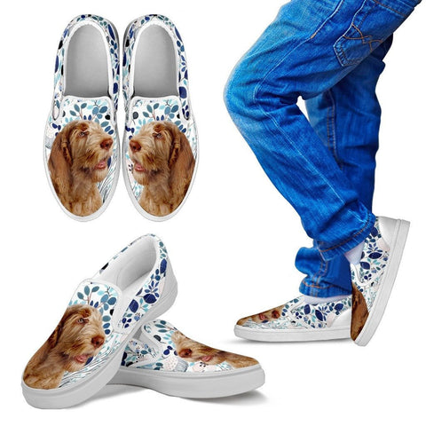 Spinone Italiano Dog Print Slip Ons For KidsExpress Shipping