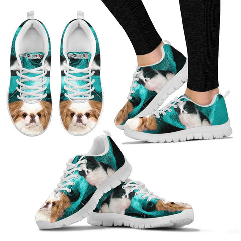 Japanese Chin On Deep Skyblue Print Running Shoes For Women