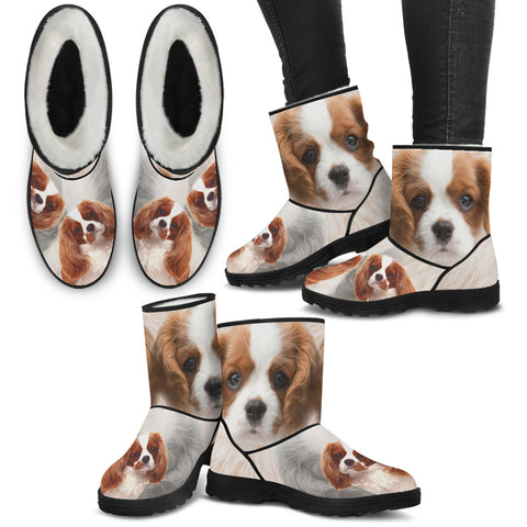 Cute Cavalier King Charles Spaniel Print Faux Fur Boots For Women