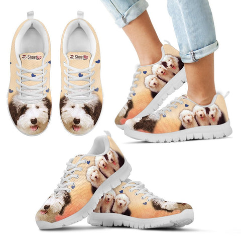 Cute Old English Sheepdog Print Running Shoes For Kids