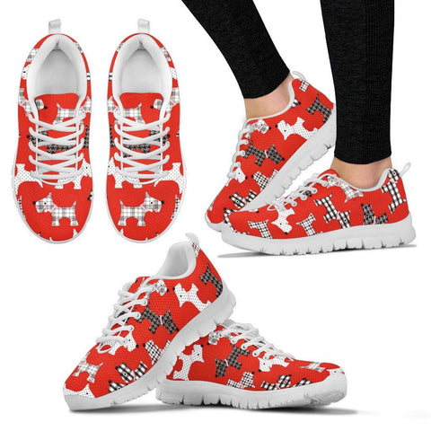 Scottish Terrier Pattern Print Sneakers For Women Express Shipping