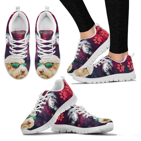 Cute Goldendoodle With Glasses Print Running Shoes For Women