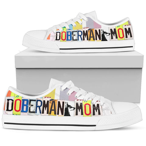 Doberman Mom Print Low Top Canvas Shoes for Women
