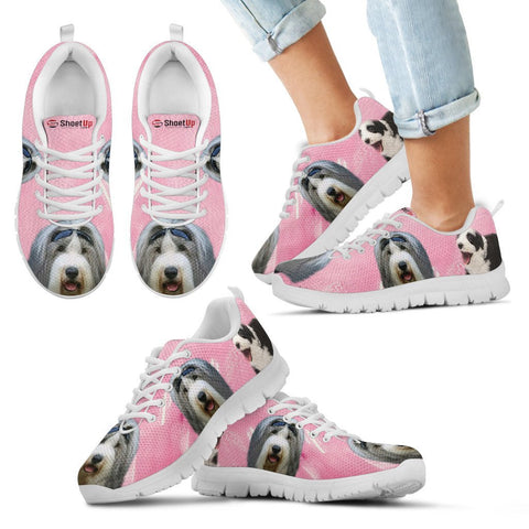 Bearded Collie Water Pink Print Running Shoes For Kids