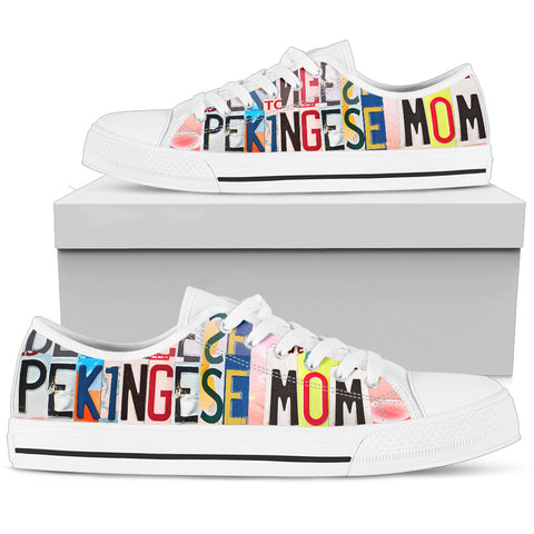 Lovely Pekingese Mom Print Low Top Canvas Shoes For Women