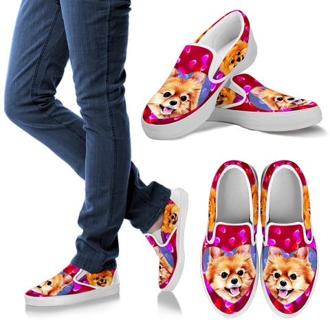 Valentine's Day SpecialCute Pomeranian Print Slip Ons Shoes For Women