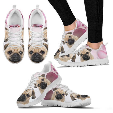 Pug Pink White Print Running Shoes For Women
