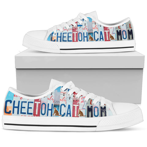 Cheetoh Cat Print Low Top Canvas Shoes for Women