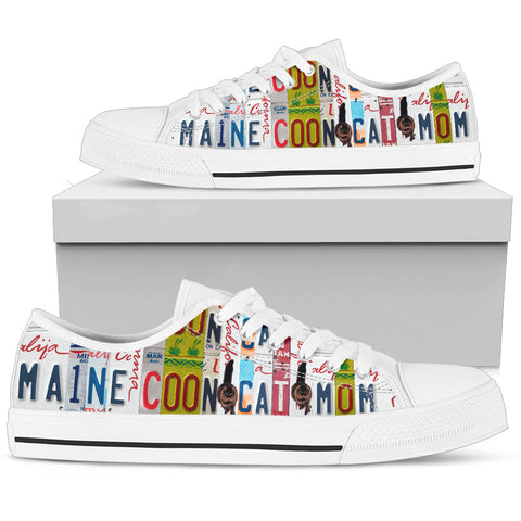 Maine Coon Cat Print Low Top Canvas Shoes for Women