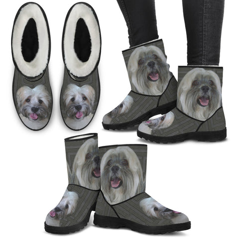 Lhasa Apso Print Faux Fur Boots For Women