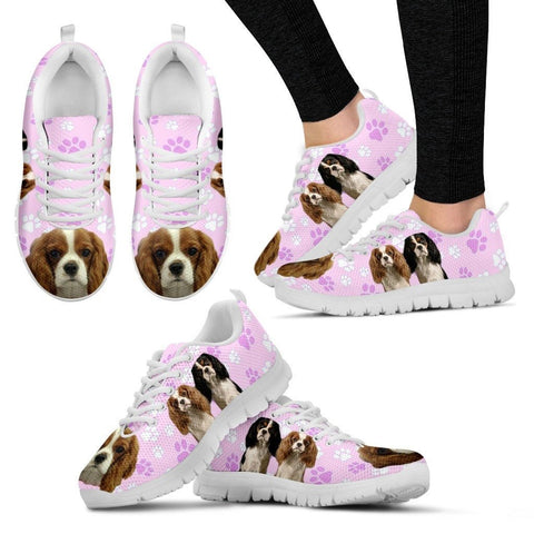 Cavalier King Charles Spaniel In Tri Color Print Running Shoe For Women(White/Black)
