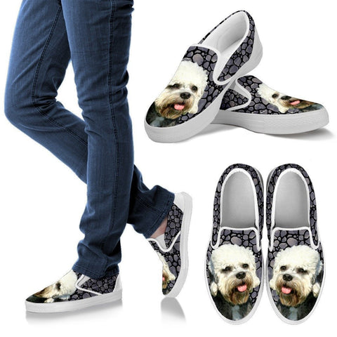 Dandie Dinmont Terrier Dog Print Slip Ons For WomenExpress Shipping